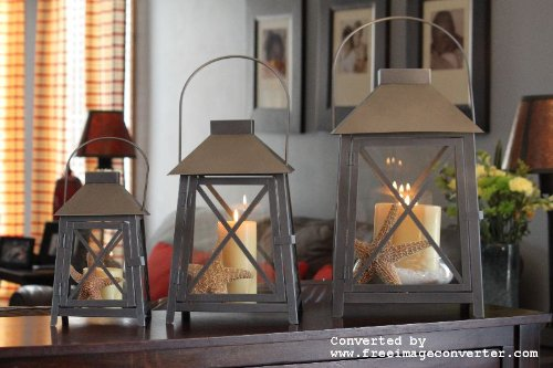 3pc Nantucket Pewter Outdoor Lanterns Pebble Lane Living B007FZJ2IO