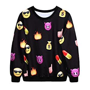 unisexe hipster pull emoji noir pullovers sweatshirt 3d swag t shirt s sports et. Black Bedroom Furniture Sets. Home Design Ideas