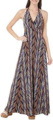 Jessica Simpson Women's Halter Maxi Dress with Empire Waist, Multi, Medium