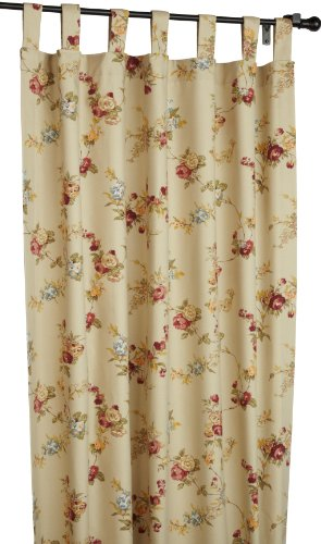 Fireside Floral Tab Top 80-Inch-by-84 Inch Thermal Insulated Drapes, Linen