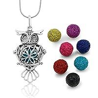 Maromalife Premium Owl Lava Stone Aromatherapy Essential Oil Diffuser Necklace Locket Pendant Gift Set with 24