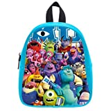 Generic Custom Cute Disney Monsters University Roles Printed Deep Sky Blue School Bag Backpack Fit Short Trip PU Leather Small