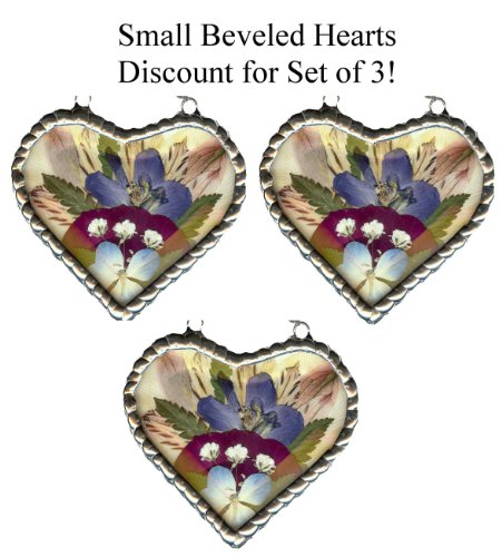Flower Preservation Stained Glass Keepsake - SET OF 3 Small Hearts
