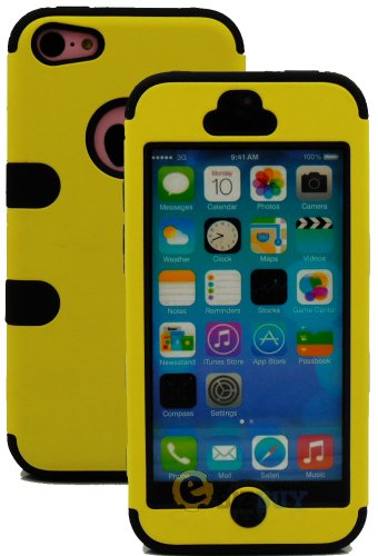 Mylife (Tm) Black + Yellow Flat Color Style 3 Layer (Hybrid Flex Gel) Grip Case For New Apple Iphone 5C Touch Phone (External 2 Piece Full Body Defender Armor Rubberized Shell + Internal Gel Fit Silicone Flex Protector + Lifetime Waranty + Sealed Inside M