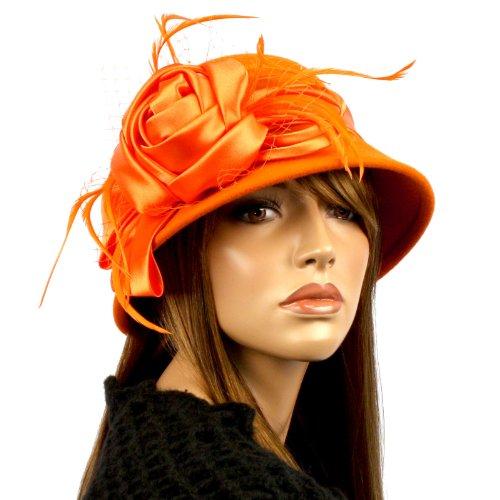 100% Wool Winter Cloche Bell Feather Fishnet Bucket Bow Flower Church Hat Orange