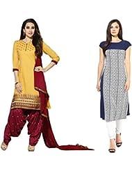 Sky Global Women's Regular Wear Dress Material And Kurti (Combo Pack Of 2)(SKY_DK_9010)(SKY_557_Yellow)(SKY_7033...