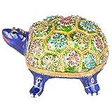 Rajgharana Handicrafts Multi Color Metal Meenakari Metal Tortoise - (14 Cm X 10 Cm)