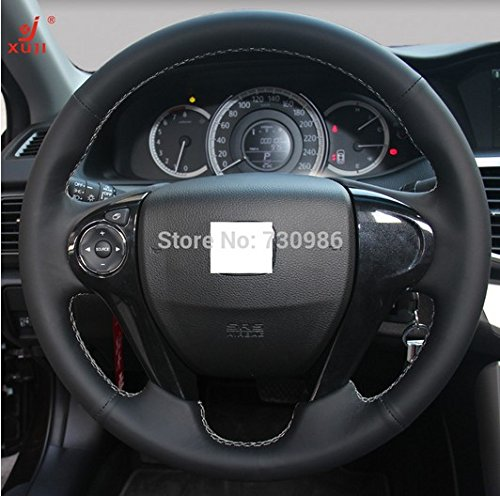 Hand Sewing Black Genuine Leather Steering Wheel Cover for 2013 2014 2015 2016 2017 Honda Accord 9 / 2013 2014 2015 Honda Odyssey Crosstour (Black Hubcaps For Honda Accord compare prices)