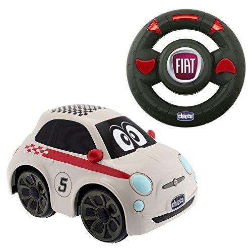 Chicco - Coche radiocontrol Fiat 500 Sport, con volante intuitivo y sonidos