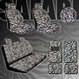 51uUCJcb%2BeL. SL160  New Premium Grade 15 Pieces Zebra Print Low Back Front Car Seat, Rear Bench Cover with Head Rest Cover and 4 Pieces Floor Mats Set
