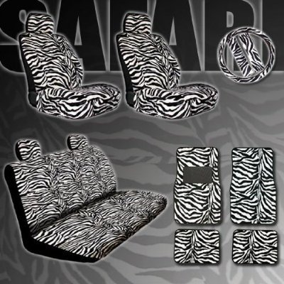 New Premium Grade 15 Pieces Zebra Print Low Back Front Car Seat Rear Bench Cover