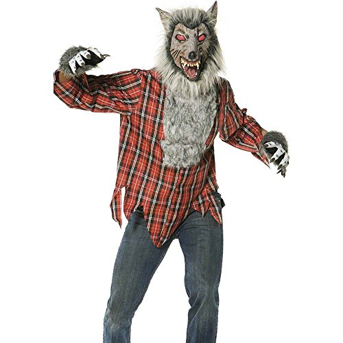 Smiffy's Men's Werewolf Costume with Hairy Chest Shirt Gloves and Mask