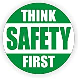 """1 Pcs Momentous Modern Think Safety First Car Sticker Sign Medical Security Hard Hat Decal Industrial Decor Size 2"""" Colors Green and White"""