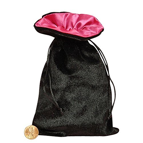Tarot/rune Bag: Black Velvet and Pink Satin Bag