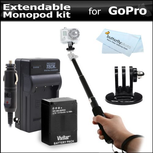 27 Extendable Pocket Size Monopod Extender And Tripod Adapter For Gopro Hd Hero3+, Hero3 + Replacement Battery And Charger For Gopro Ahdbt-201, Ahdbt-301, Ahdbt-302