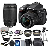 Nikon D3300 Digital SLR Camera Black (24.2MP) with 18-55mm VR II + 70-300mm f/4-5.6G Lens + 19PC Bundle 32GB Accessory Kit