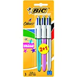 Bic 4 Colours Shine Lot de 2 plus 1 gratuit stylos bille- Coloris Assortis