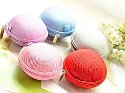 Liroyal Black/Blue/Pink Earphone in-ear Hard Case/Bag Pack of 5