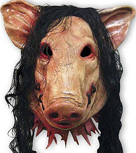 Halloween Festival Costume Horrible Mask Thrill Decorative Cosplay Animal Saw Pig Mask with Hair