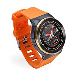 YIDA SW309 Quad Core Smart Watch Phone with Nano SIM Card Android5.1 WCDMA 3G WIFI Full Round Touch Screen Bluetooth 4.0 Pedometer Heart Rate Hands Free Call (Orange)