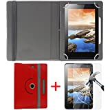 "Hello Zone Exclusive 360° Rotating 7"" Inch Flip Case Cover + Free Tempered Glass For Micromax Canvas Tab P701 -Red"