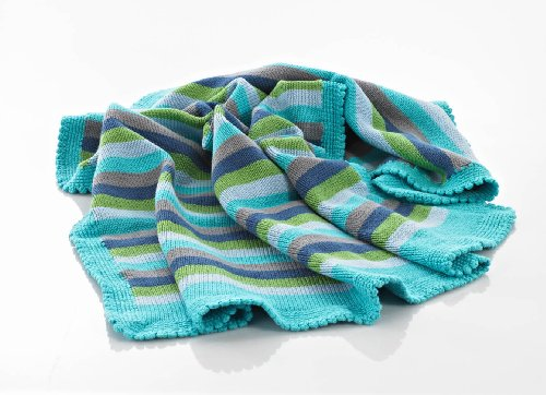 Blue Cotton Stripey Knitted Baby Blanket With A Hand Crochet Edge front-943760