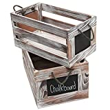 MyGift® Distressed White Wash Wood Rustic Nesting Boxes / Storage Crates w/ Chalkboard Labels (Set of 2)