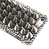 Luxury 3D Metalic Crystals Spikes Rivet Punk Studs Special Back Cover Case For Motorola Mobile Smart Phones (Photon (Electrify) 4G MB855)