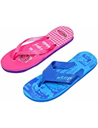 IndiWeaves Step Care Rubber Printed Footwear (Set Of 2 )- 1 For Boy And 1 For Girl-Pink/Blue