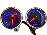 LED バックライト で 夜でも明るく 見やすい インジケーター 付 12V 機械式 凡用 バイク 用 スピードメーター 電気式 タコメーター (スピード...