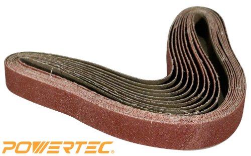 POWERTEC 111360 1-Inch x 30-Inch 320 Grit Aluminum Oxide Sanding Belt, 10-Pack
