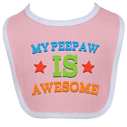 Inktastic Baby Boysâ€Tm My Peepaw Is Awesome Baby Bib One Size Pink/White