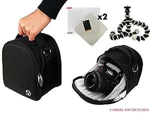 Laurel Travel Camera Bag Case For Canon EOS 1000D (Rebel XS/Kiss F), 100D (Rebel SL1), 10D, 1100D (Rebel T3/Kiss X50) DSLR Camera + Screen Protector + Screen Protector + Mini Tripod