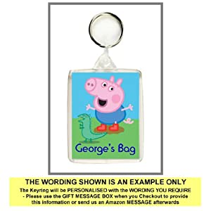 Personalised GEORGE PIG Keyring / Bag Tag - Ideal for Lunch Boxes, School Bags etc