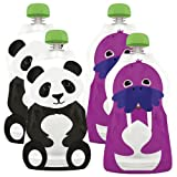 Squooshi 4 Count Reusable Food Pouch, Large Panda/Walrus, 4.5 Ounce