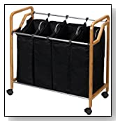 Quad Laundry Sorter, Bamboo Frame with Black Canvas Bags