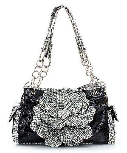 Houndstooth Raised Flower Rhinestone Patent Leather Studded Handbag