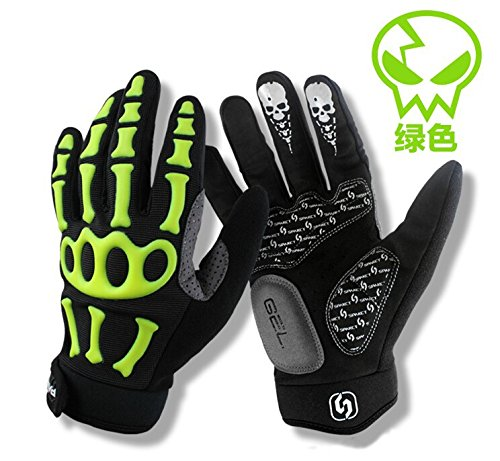 Chakit Brand SPAKCT Silicone GEL Full Finger Cycling Gloves Skull Bike Bicycle Men Slip for mtb riding sweat Green Black with white(Size L) (Greencolor)
