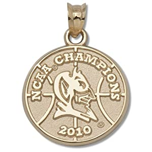 Duke Blue Devils 5 8 Round 2010 NCAA Champions Logo Pendant - 14KT Gold Jewelry by Logo Art
