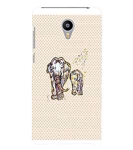 PrintVisa Animal Elephant Art 3D Hard Polycarbonate Designer Back Case Cover for Meizu M3