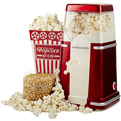 Machine à Popcorn Retro Andrew James pour popcorn frais et sain - Vendu avec 4 Boites à popcorn & Garantie Fixe de 2 Ans