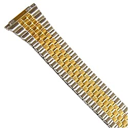 Watch Band Expansion Metal Stretch Two Tone Silver-Gold fits 16mm to 20mm