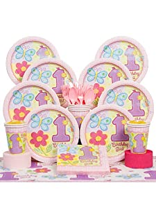 Hugs & Stitches Girl 1st Birthday Party Deluxe Kit Serves 8 Guests