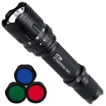 LiteXpress LXL447001B Lampe de poche X-Tactical 104 avec LED puissante jusqu'à 190 lm, 6 modes lumineux et 3 filtres colorés Noir