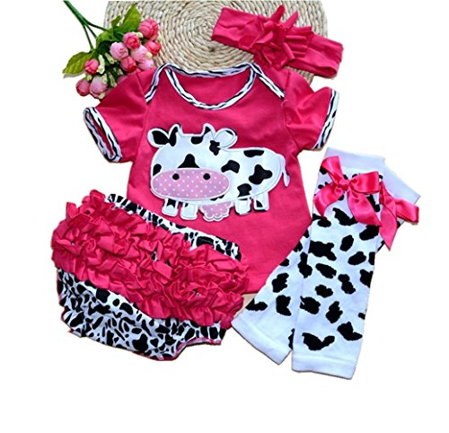Reborn Baby Doll Clothes Fit For 20- 23 Inch Reborn Doll Girl Baby Clothing Red Dairy Cow Four-Piece Suit