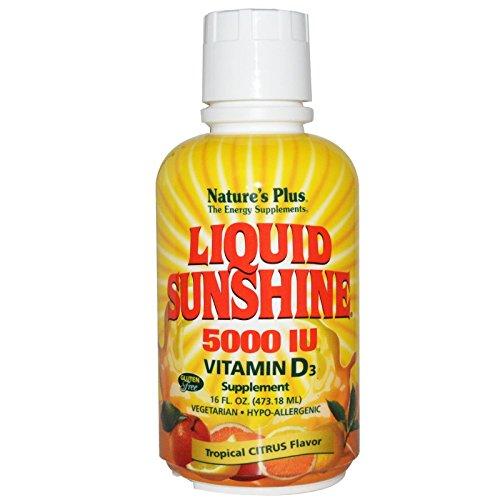 Nature's Plus, Liquid Sunshine 5000 IU, Vitamin D3 Supplement, Tropical Citrus Flavour, 16 fl oz (473.18 ml)