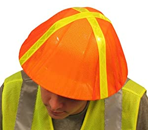 Hi-Viz Orange Mesh Elastic Hard Hat Cover w/ Lime Reflective Tape, #13761