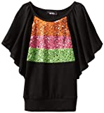 Amy Byer Girls 7-16 Butterfly Sequin Trim Top