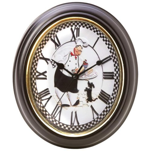 BrookwoodTM Oval-Shaped Baker Wall Clock