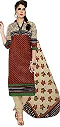 SP Marketplex Women's Cotton Unstitched Dress Materials (Spmsg304, Dark Orange And Off White)
